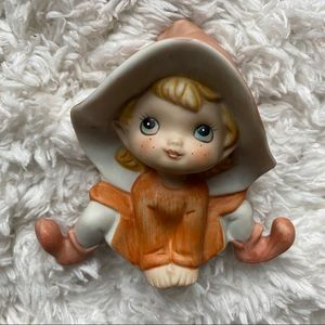 Homco Orange Pixie Elf Ceramic Figurine
